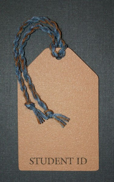 School ID Tag - Blue and Bronze