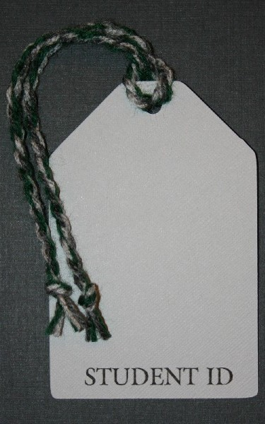 School ID Tag -  Silver and Green